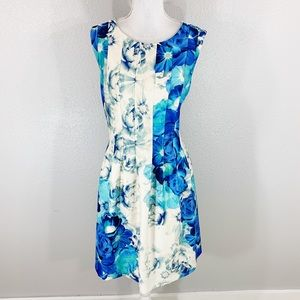 07be76f06f6d Eliza J blue off white floral seamed flare dress